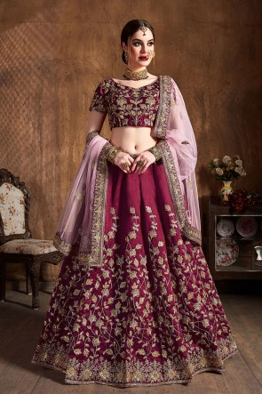 Heavy Designer Coffee Sequins Work And Embroidered Work Silk Lehenga Choli With Net Dupatta