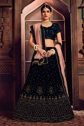 Solid Navy Blue Velvet Stone Work And Embroidered Designer Lehenga Choli With Net Dupatta
