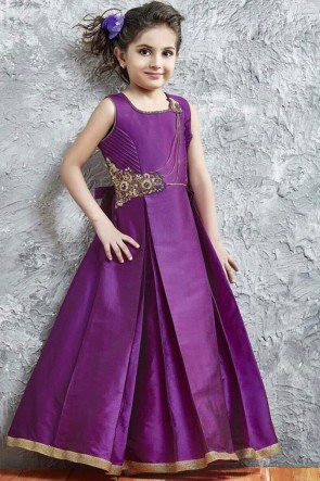 Lovely Purple Silk Hand Work Gown