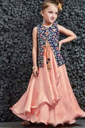 Supreme Pink and Navy Blue Silk Embroidered Work Party Wear Gown