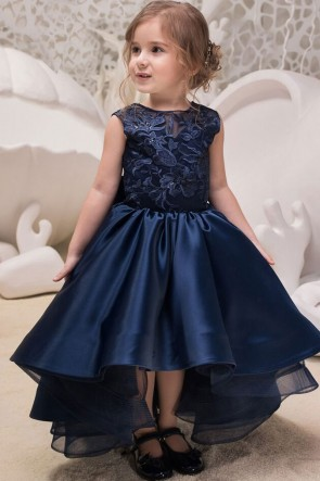 Classic Navy Blue Scuba Fabric Hand Work Gown