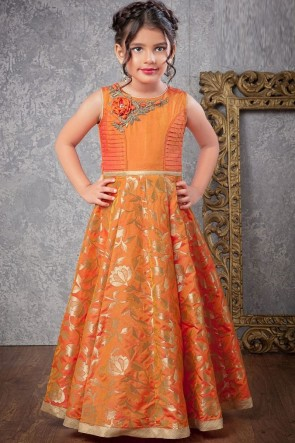 Desirable Orange Jacquard Hand Work Gown