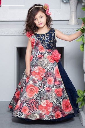 Gorgeous Navy Blue Crepe Hand Work and Printed Gown