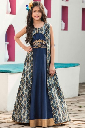 Pretty Navy Blue Silk Embroidered Work Gown