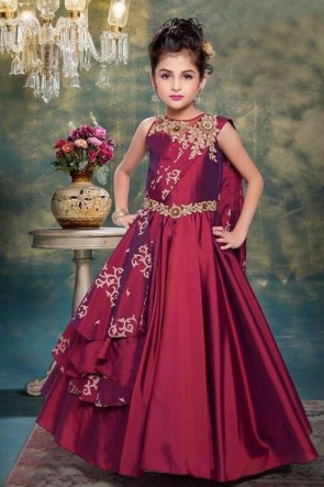 Stylish Maroon Silk Hand Work Gown