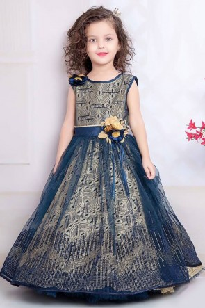 Graceful Navy Blue Crepe Embroidered Work Party Wear Gown