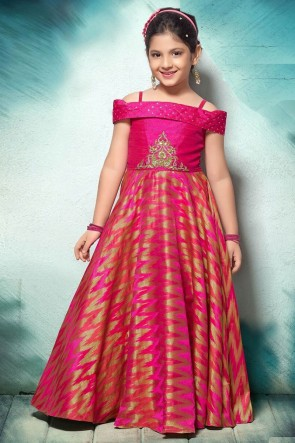 Classic Pink Jacquard Hand Work Party Wear Gown