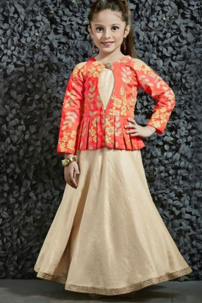 Ultimate Orange and Beige Silk Embroidered Work Party Wear Gown