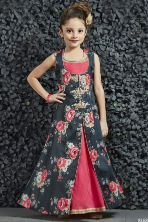 Beautiful Pink and Grey Silk Printed Gown