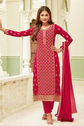 Gorgeous Magenta Georgette Embroidered Casual Salwar Suit With Chiffon Dupatta
