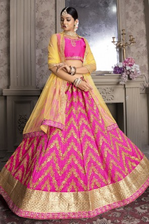 Pink Zari And Thread Work Banglori Silk Fabric Lehenga Choli With Net Dupatta