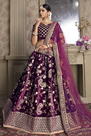Violet Velvet Fabric Zari And Thread Work Designer Lehenga Choli With Net Dupatta