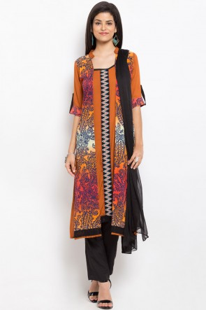 Pretty Rust Cotton Plus Size Readymade Printed Salwar Suit