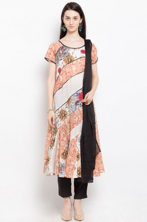 Admirable Off White Cotton and Faux Crepe Straight Pant Printed Plus Size Readymade Salwar Suit