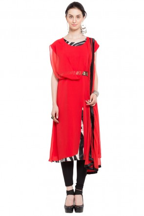 Supreme Red Georgette Churidar Plus Size Readymade Salwar Suit With Faux Dupatta