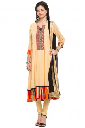 Admirable Yellow Georgette and Faux Crepe Churidar Plus Size Readymade Salwar Suit