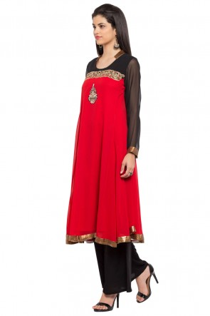 Supreme Red Georgette and Faux Crepe Plazzo Plus Size Readymade Salwar Suit