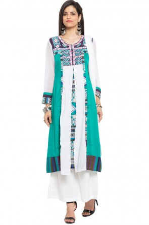 Ultimate Green Cotton Plazzo Plus Size Readymade Salwar Suit With Faux Chiffon Dupatta