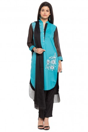 Ultimate Blue Cotton and Faux Crepe Straight Pant Plus Size Readymade Salwar Suit