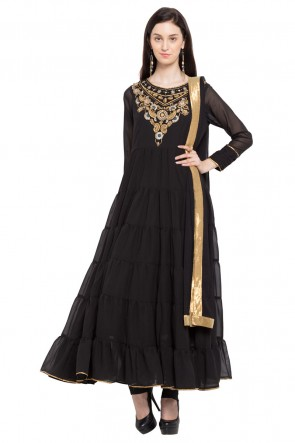 Gorgeous Black Faux Georgette Churidar Plus Size Readymade Anarkali Salwar Suit with Faux Chiffon Dupatta