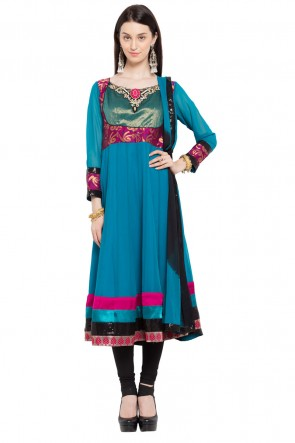 Ultimate Blue Faux Georgette Churidar Plus Size Readymade Anarkali Salwar Suit with Faux Chiffon Dupatta