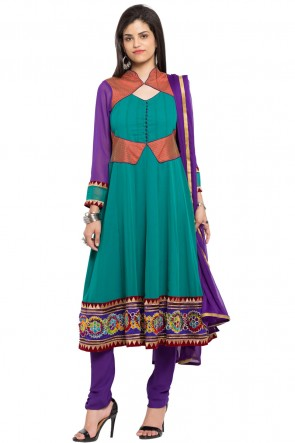 Lovely Turquoise Faux Georgette Churidar Plus Size Readymade Anarkali Salwar Suit With Faux Chiffon Dupatta
