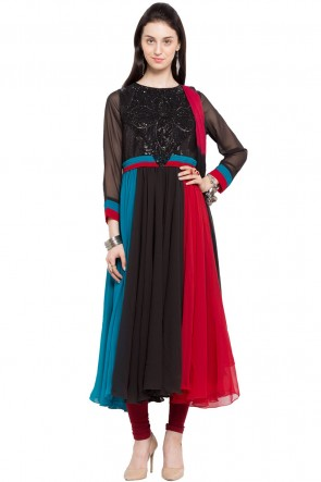 Excellent Multi Color Faux Georgette Churidar Plus Size Readymade Anarkali Salwar Suit With Faux Chiffon Dupatta