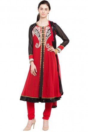 Desirable Red Faux Georgette and Faux Crepe Churidar Plus Size Readymade Anarkali Salwar Suit