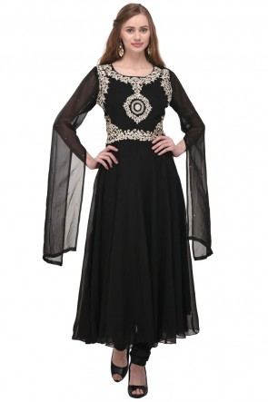 Supreme Black Georgette Plus Size Readymade Salwar Suit With Chiffon Dupatta