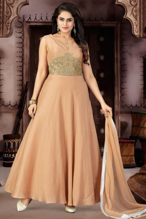 Classic Chikoo Chanderi and Lycra Plus Size Readymade Gown With Chiffon Dupatta