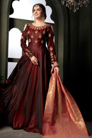 Stylish Maroon Silk Embroidered Designer Anarkali Salwar Suit With Banarasi Silk Dupatta