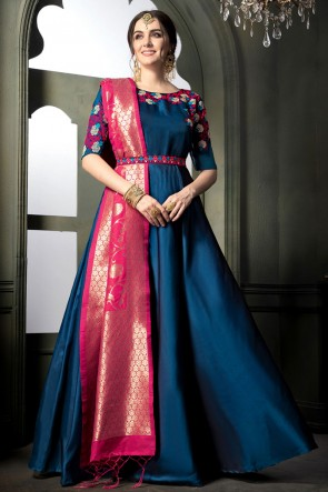 Excellent Royal Blue Silk Embroidered Designer Anarkali Salwar Suit With Banarasi Silk Dupatta