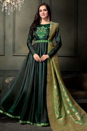 Pretty Green Silk Embroidered Designer Anarkali Salwar Suit With Banarasi Silk Dupatta