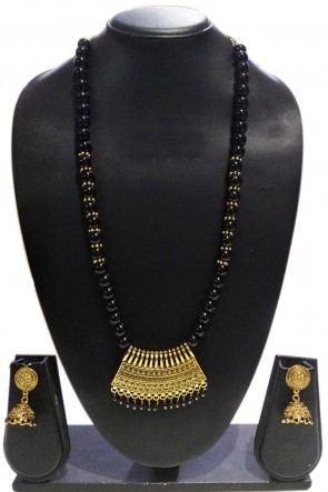 Lovely Black and Silver Pearl Necklace Set