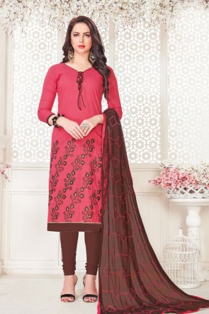 Classic Peach Cotton Embroidered Casual Salwar Suit With Nazmin Dupatta