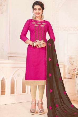Beautiful Magenta Cotton Embroidered Casual Salwar Suit With Nazmin Dupatta