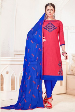 Ultimate Peach Cotton Embroidered Casual Salwar Suit With Nazmin Dupatta
