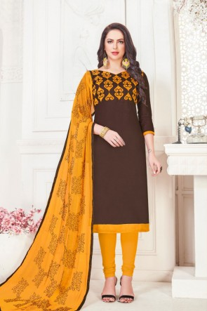 Classic Coffee Embroidered Casual Salwar Suit With Nazmin Dupatta