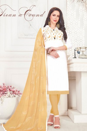 Supreme White Cotton Embroidered Casual Salwar Suit With Nazmin Dupatta