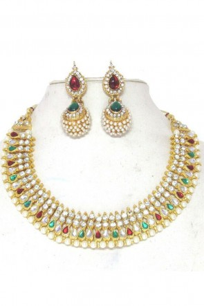 Lovely Red, Green and White Function Wear Necklace Set