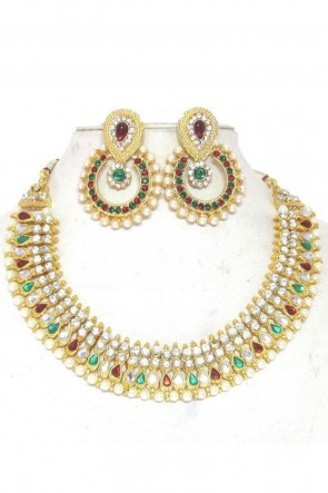 Beautiful Red, Green and White Function Wear Necklace Set
