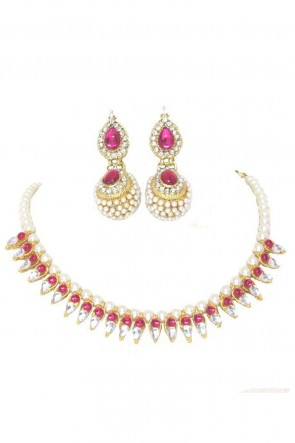 Optimum Pink Party Wear Necklace Set