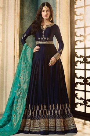 Pretty Navy Blue Georgette Embroidered Designer Anarkali Salwar Suit With Viscose Dupatta