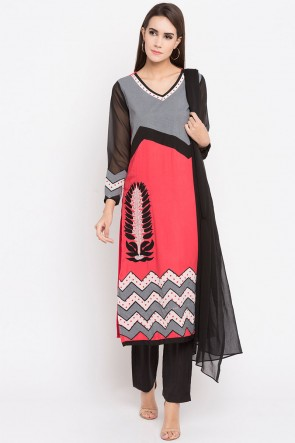 Admirable Peach Cotton Plus Size Readymade Salwar Suit With Faux Chiffon Dupatta