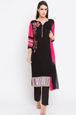 Charming Black Cotton Plus Size Readymade Salwar Suit With Faux Chiffon Dupatta