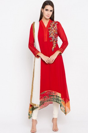 Excellent Red Faux Georgette Plus Size Readymade Salwar Suit With Faux Chiffon Dupatta