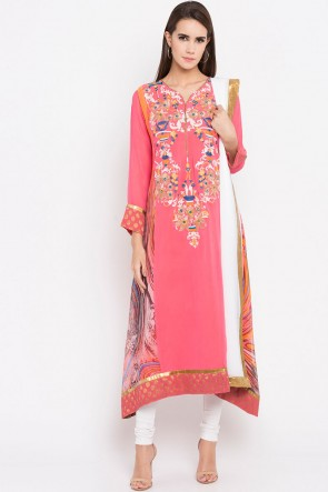 Gorgeous Pink Faux Georgette Plus Size Readymade Salwar Suit With Faux Chiffon Dupatta