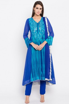 Lovely Blue Faux Georgette Plus Size Readymade Salwar Suit With Faux Chiffon Dupatta
