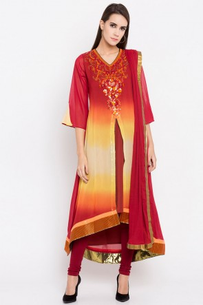 Pretty Red Faux Georgette Plus Size Readymade Salwar Suit With Faux Chiffon Dupatta