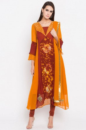 Stylish Mustard Faux Georgette Plus Size Readymade Salwar Suit With Faux Chiffon Dupatta